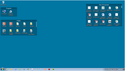 AFTER - The files are all there but in tidy boxes with scrollbars to access all icons
