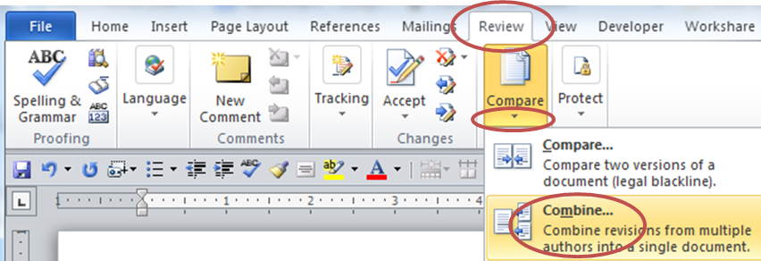 review tab in word has the compare and combine options